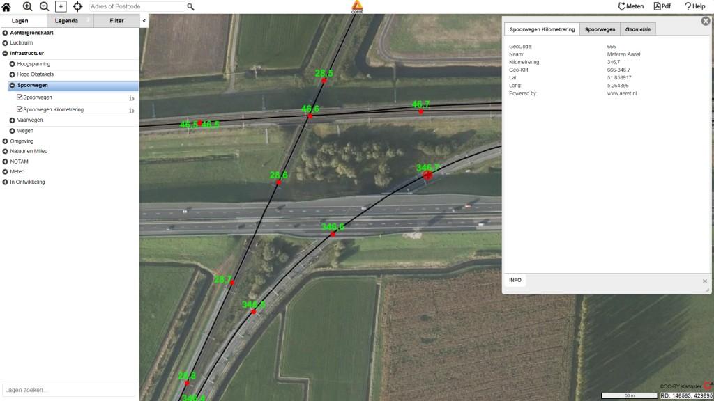 aeret spoorwegen drone kaart spoorlijnen kilometrering hectometer markering