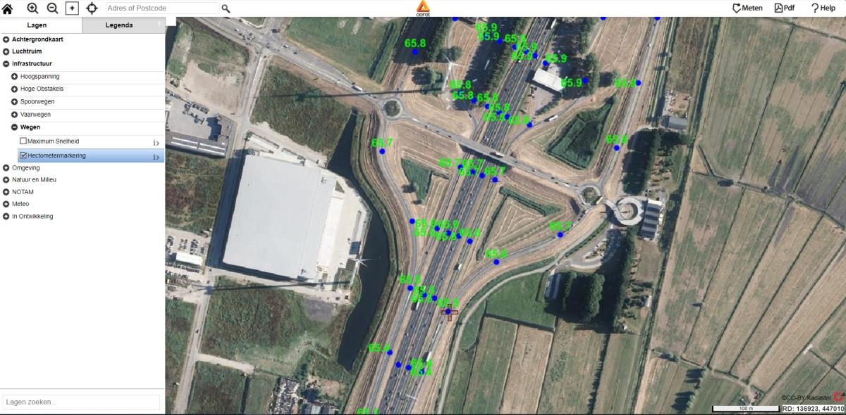 drone preflight pro kaart hectometermarkering hectometerbordjes