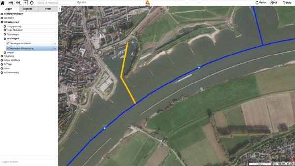 drone preflight kaart vaarwegen havengebied havens rivier kanaal kilometering hectometer