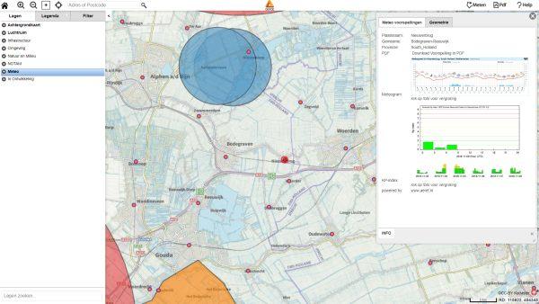 Weersverwachting van ruim 1600 NL Locaties & KP-index