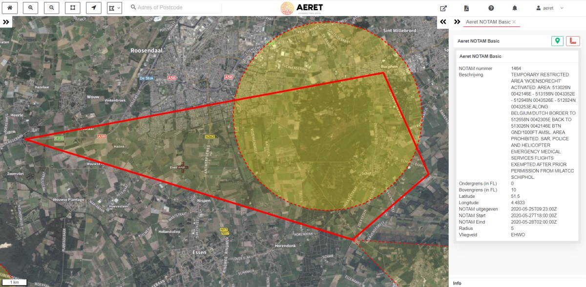 aeret notam kaart drone no fly zone complexe vorm